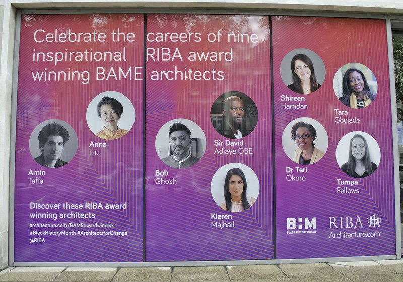 While the RIBA is still working on encouraging diversity, as with this promotion at its central London office during Black History Month, the figures show there is still a long way to go.