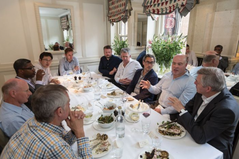 Round the table at London's Quo Vadis restaurant: From left foreground, Dale Sinclair, Paul Longford, Ken Faulkner, Kevin Yin; from right forground, Peter Caplehorn, Steven Morgan, Jan-Carlos Kucharek, Paul Bussey, Stephen Cousins, Matt Wells.