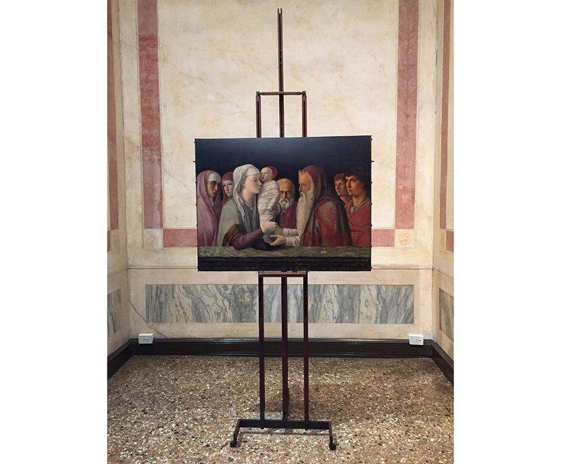 Installation designed by Carlo Scarpa 1961-3 of Giovanni Bellini's Presentation at the Temple (1460). Collection Palazzo Querini Stampalia, Venice. Photograph by Dinah Casson