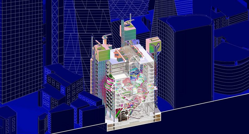 Lloyds: Towards a New Trading Theatricality Axonometric Section. 600 x 600. 3D modelling, 2D drawing. Credit Areesha Khalid