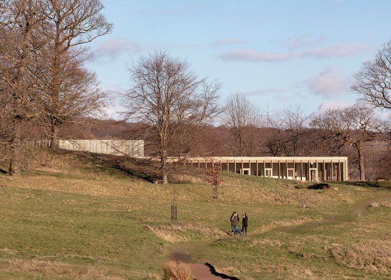 A building that is all about the landscape. The Weston, Yorkshire Sculpture Park, Feilden Fowles, RIBA regional award and sustainability award and regional client of the year award 2019. Credit Peter Cook