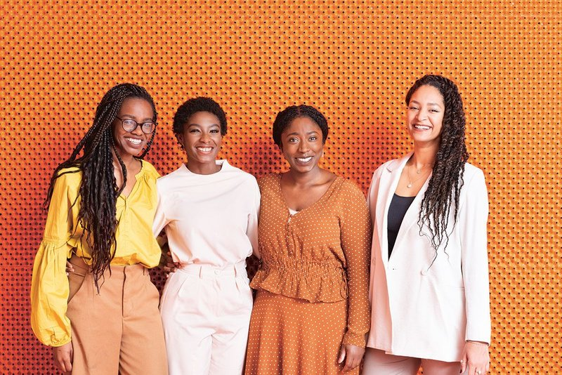 Black Females in Architecture co-founders, from left:  Alisha Morenike Fisher, Selasi Setufe, Akua Danso and Neba Sere, shot at Second Home.