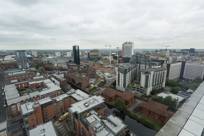 View towards Mecanoo's Birmingham City Library, showing the construction site of future HSBC national headquarters in the middle ground.