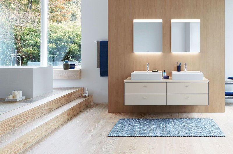 Duravit's Brioso console vanity unit with new Taupe finish, shown with Vero Air above-counter basins and C.1 single lever basin mixers.