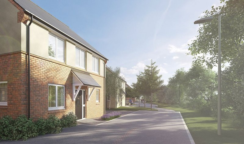 Exterior CGI of street scene and five-bedroom detatched house at Elmsbrook by Fabrica.