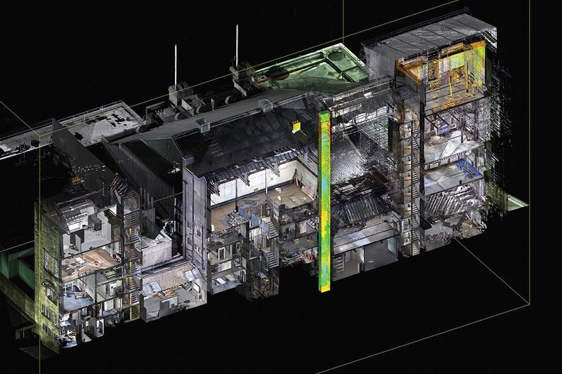 The Mackintosh 3D model scanned by point cloud and augmented by Page/Park.