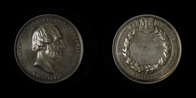 George Godwin was both winner of the RIBA's Honorary Medal and founder of the Godwin Bursary in 1881. The winner received this medal designed by GG Adams.