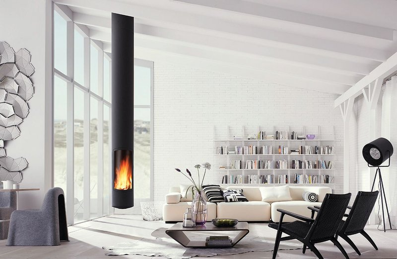 The Slimfocus, a suspended, fixed or pivoting fireplace