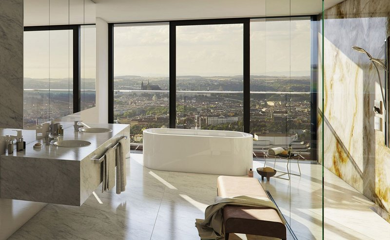 Kaldewei freestanding Meisterstück Centro Duo Oval bath in a penthouse apartment at the V Tower residential building in Prague.