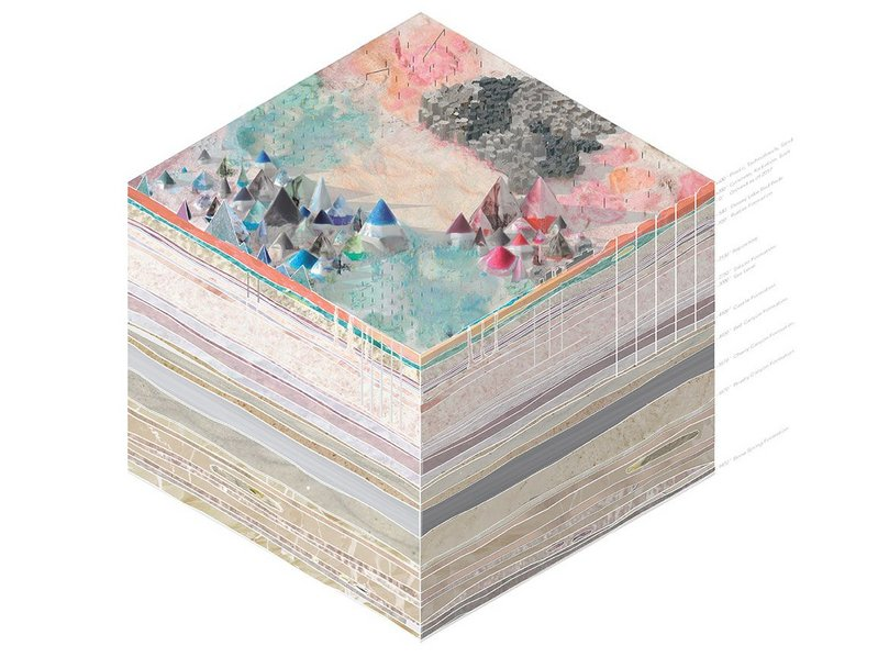 7017: 5,000-year geologic axonometric projection (12,000' H x 12,000' W x 9,500' D)