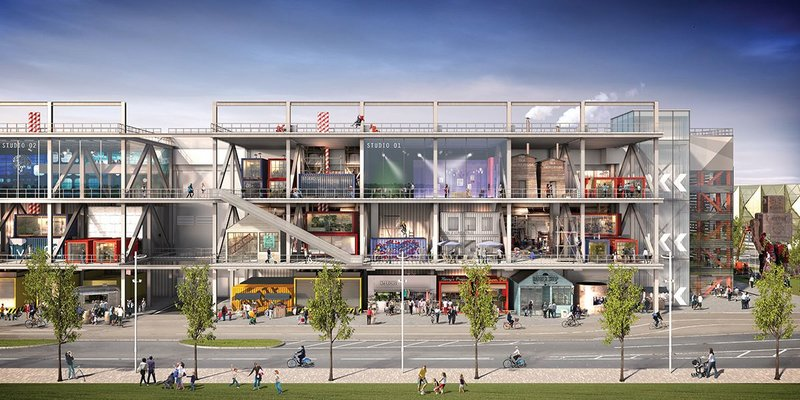 An army of apprentices from local boroughs will be drafted in to build the studios within the gantry structure, using the WikiHouse timber building system. Tenants will help with the design.