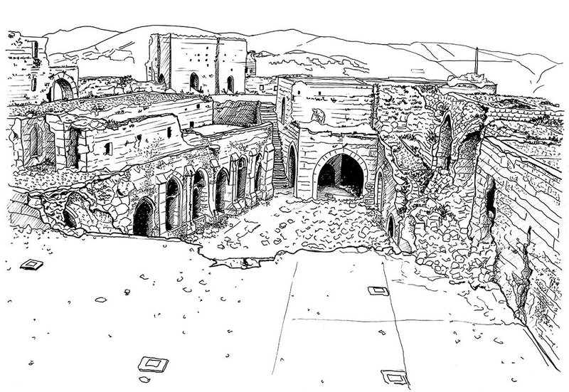 Overview of the inner configuration of Krak des Chevaliers showing recent damage.
