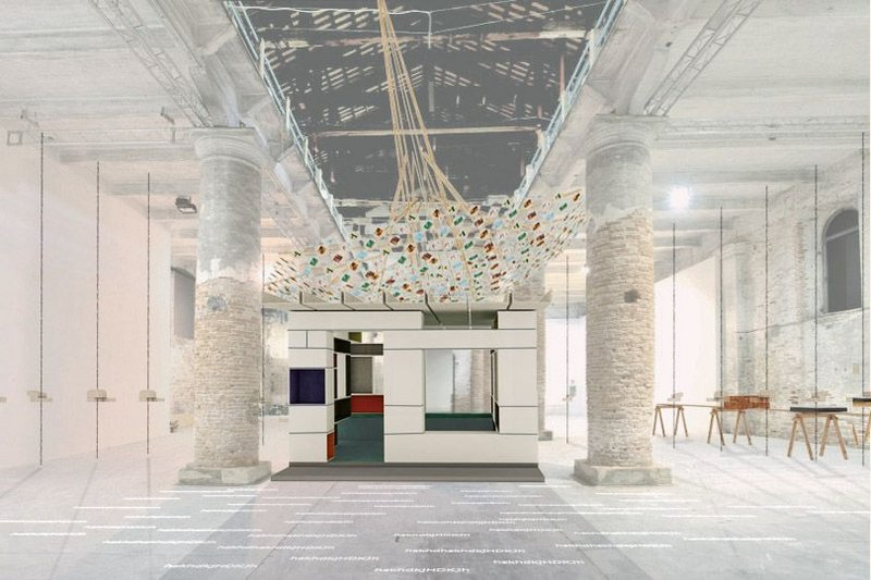 Visualisation of Anupama Kundoo's Building Knowledge installation in the Arsenale at this year's Venice Architecture Biennale.