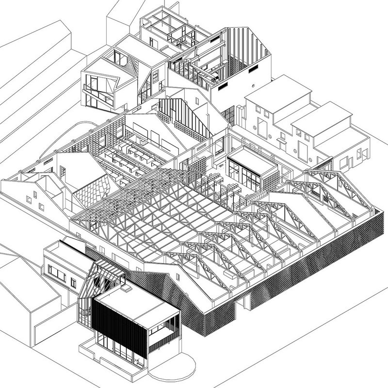 Axonometric of the Archi-Union offices, which are in a former factory. The roof of the central portion of the factory was removed to create a courtyard.