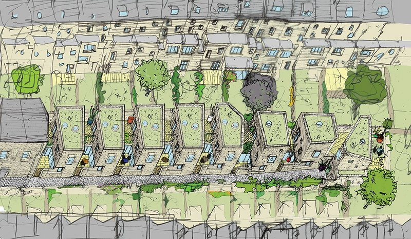 Barber's bird's eye axo of the scheme shows just how constrained the site is, hemmed in by neighbouring gardens.