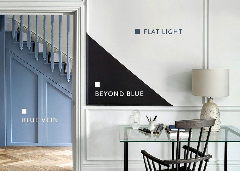 Flat Light and Beyond Blue paint shades from the Monochrome collection are based on Blue Vein from the Originals collection, all Paint & Paper Library.
