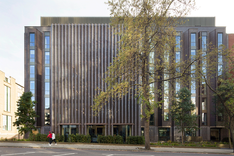 At York House near King's Cross Webb Yates worked with dMFK to extend the office block with a timber structure clad with corrugated brick facade.