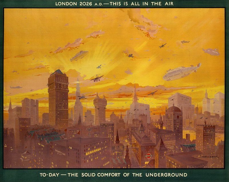 A future view of city transport London 2026 This Is All In The Air by Montague B Black. TfL from the London Transport Museum collection, www.ltmuseum.co.uk
