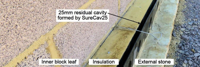 SureCav25 was developed to allow an extra 25mm of insulation in the same cavity.