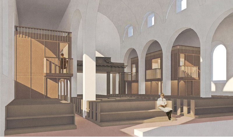 An OSB cassette construction is inserted into the church's side aisles, leaving the central nave for continued worship.