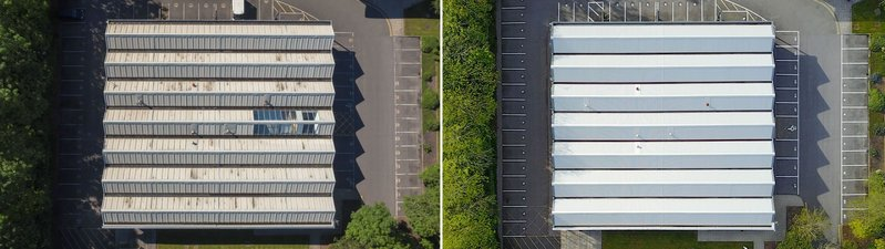 The roofing was supplied in goosewing grey to meet the client's requirement for a colour that best resembled the rest of the skyline at the business park.