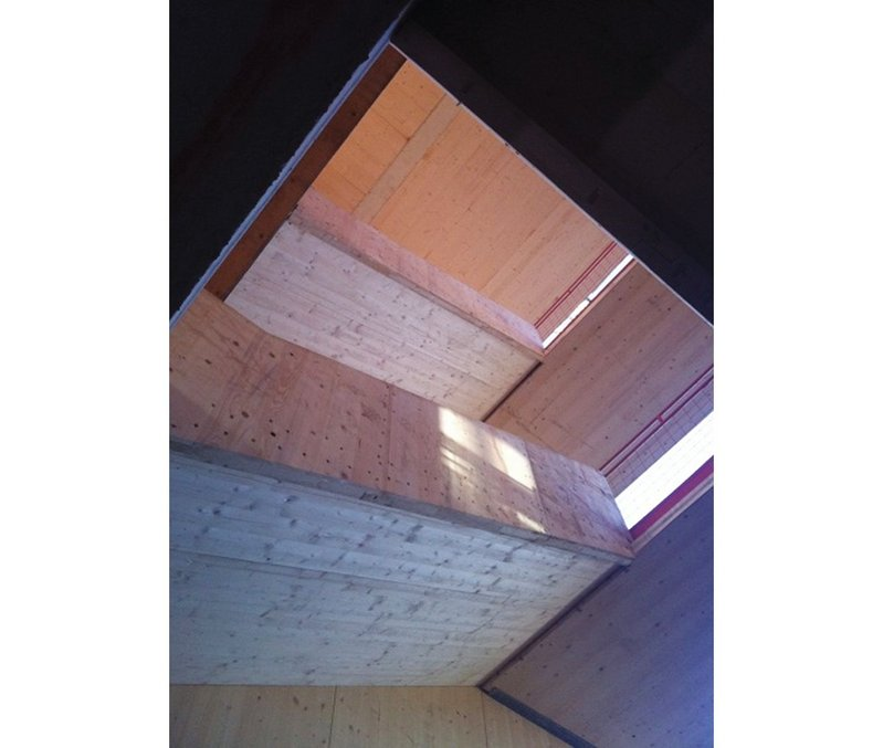 One of AHR's cross-laminated solid timber staircases under construction.