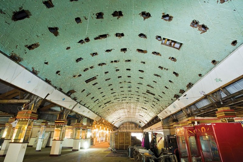 The roller disco's metal barrel vault ceiling is being stabilised but left in its original state – all in the name of authenticity.