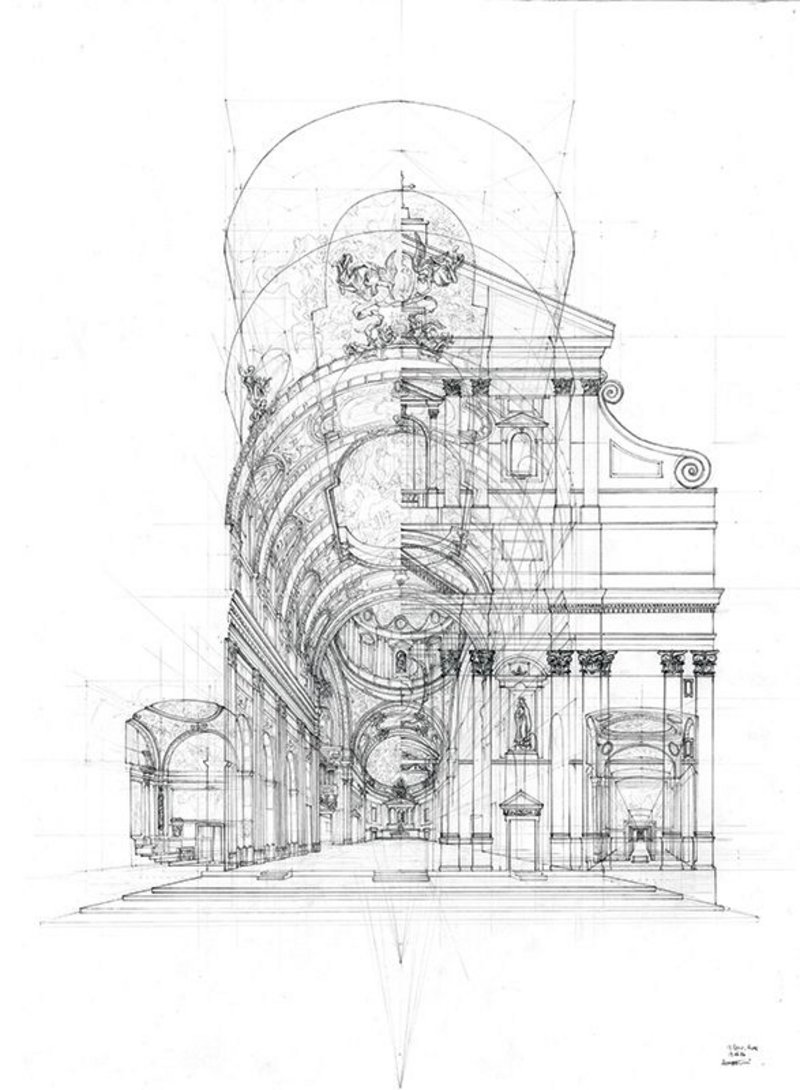Together with his axonometric and Hadid-like wide, deconstructivist view, Leung's Il Gesù perspective, drawn on site, showed his ease with a number of drawing styles.