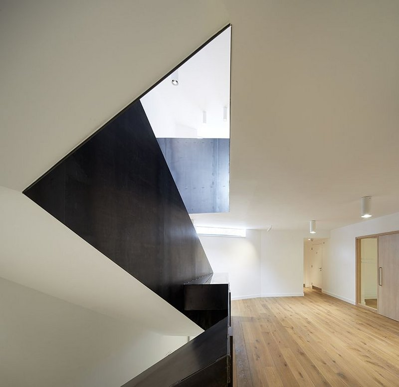 A shaft of light pierces the new steel balustrade stair in the two-storey terrace extension.