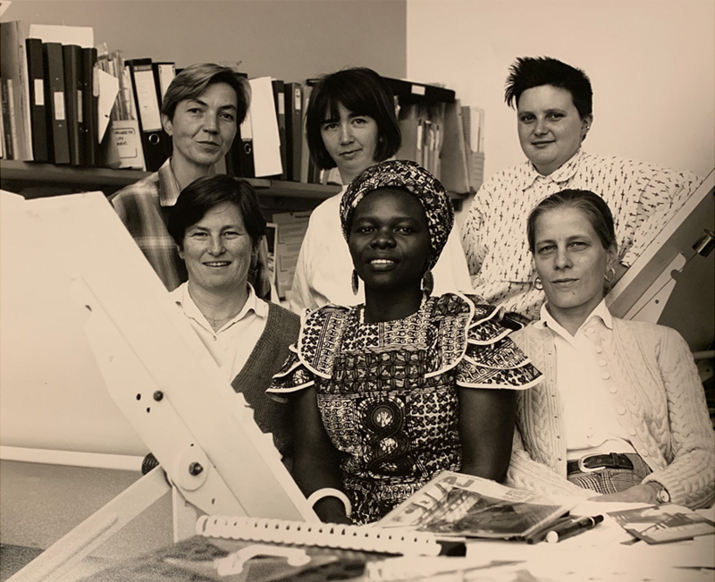Members of Matrix in the 1990s from How We Live Now - Reimagining Spaces with the Matrix Feminist Design Co-operative project at the Barbican. Back row (left to right): Mo Hildenbrand, Sheelagh McManus, Raechel Ferguson. Front row (left to right): Janie Grote, Annie-Louise Phiri, Julia Dwyer. Photography by Jenny Burgen.
