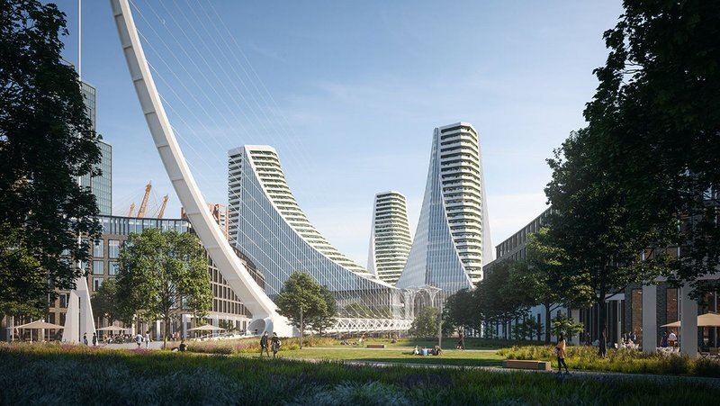 Density on brownfield land at Greenwich Peninsula with Santiago Calatrava's £1bn mixed use topped by apartments.
