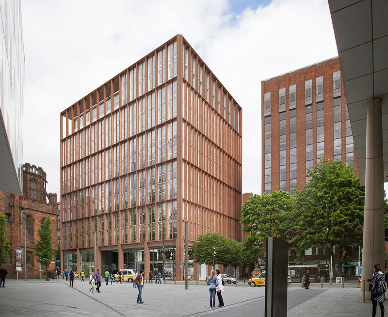 Howells still sees his practice as small and crafted. Here at 125 Deansgate, in central Manchester, the terracotta cladding demonstrates some of the practice thinking around lean design.