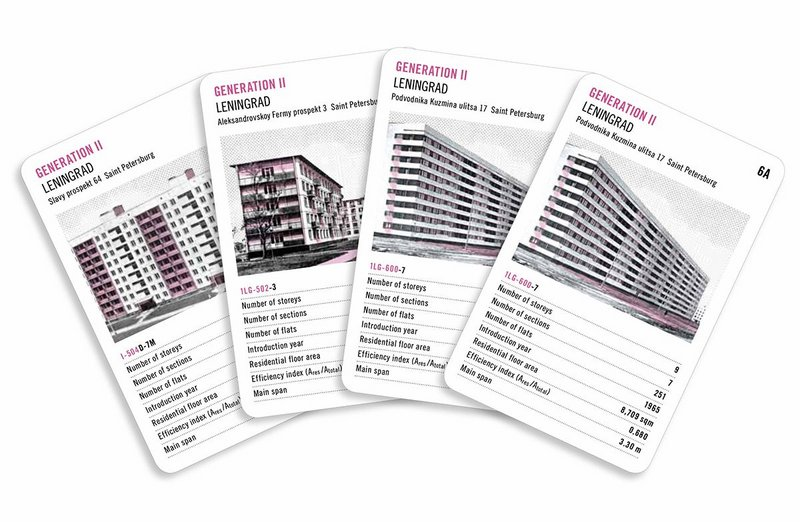 Four of the Generation II cards from the Soviet Mass Housing set. Categories include numbers of systems, storeys and flats.