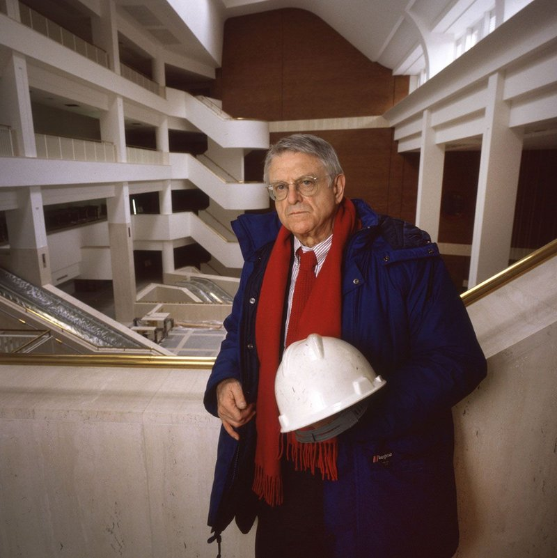 Sandy Wilson photographed in his British Library as it neared completion.