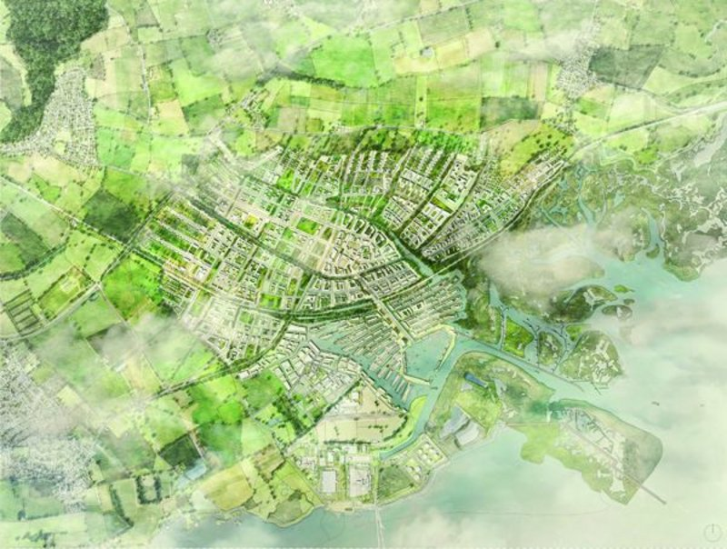 Aerial visualisation of Shelter/PRP's submission for second place of the Wolfson Economics Prize – a garden city where Boris Johnson had hoped to place his airport.