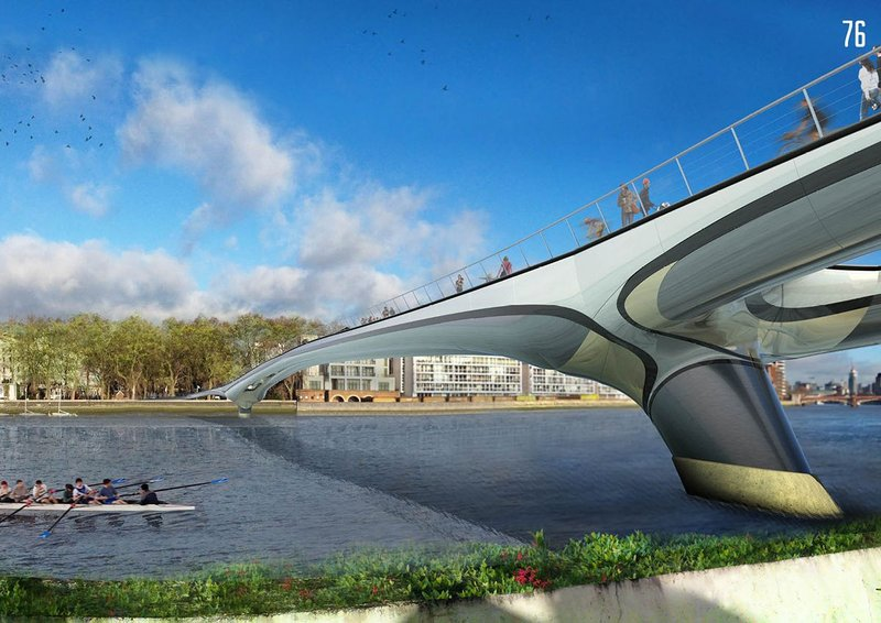 The visualisation made it look like this bridge was made of plastic. I hope it is – I'm desperate to see composite materials' strength put to good use. Plastic fantastic.