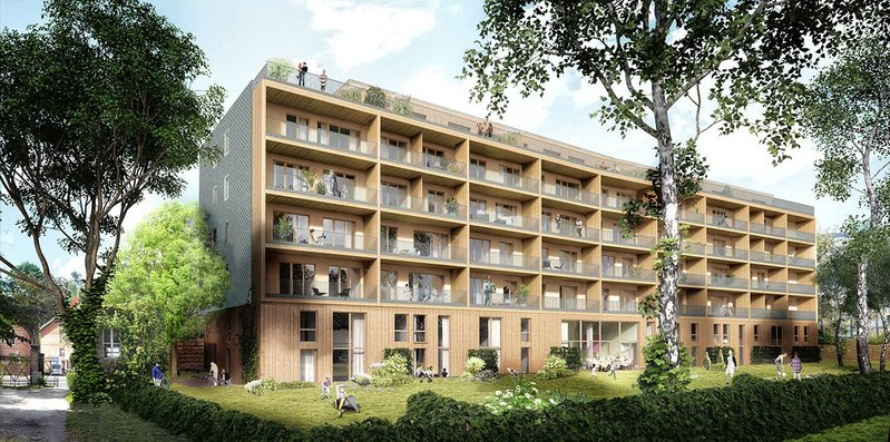 The Walden 48 co-housing scheme in Berlin uses CLT to help achieve energy efficiency.