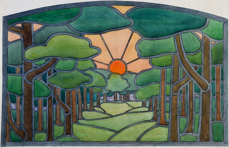 Barry Parker (1867-1947). Watercolour of a stained glass design for unknown house. Courtesy of the Garden City Collection. From Barry Parker: Architecture for All at the Broadway Gallery in Letchworth.