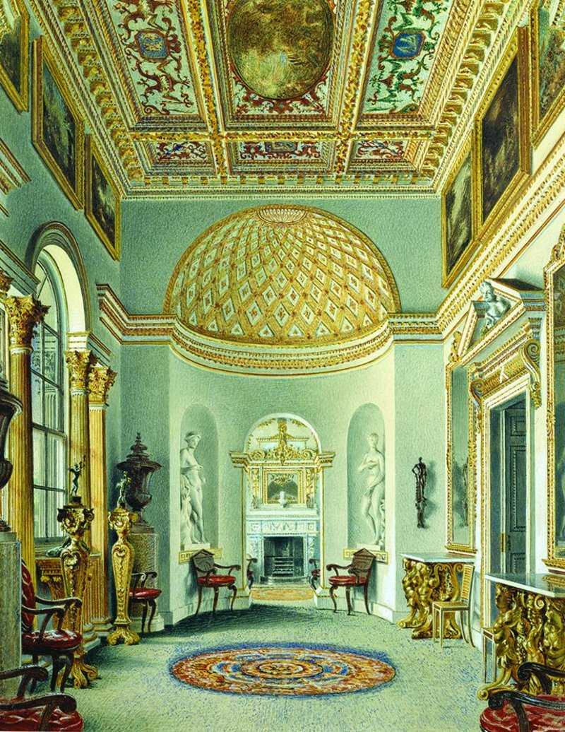 Interiors at Chiswick House show Kent's rich mixture of skills. Here the gallery as painted by William Henry Hunt.