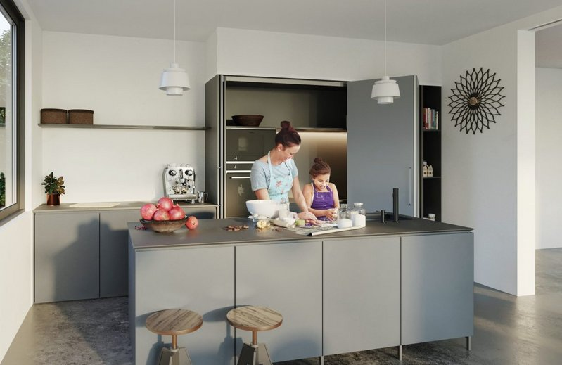 The Häfele Hawa Concepta folding sliding door system can screen off storage and appliances and even whole kitchens in open-plan spaces.