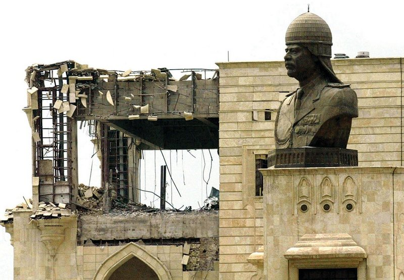 One of the numerous statues of Saddam Hussein that once populated Baghdad.