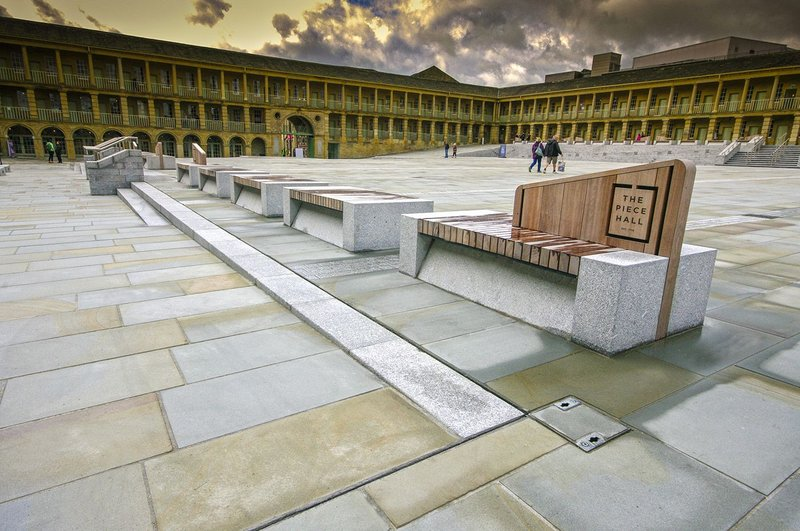 Hardscape created over 40 granite and Iroko timber benches which enhance the public space of the Piece Hall