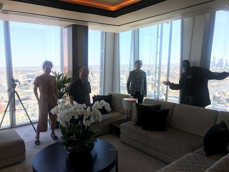 Some of the Time to Reflect judges in their judging suite with a view. From left: RIBA Marketing manager Charmian Beedie, William Matthews, Jan-Carlos Kucharek and LionHeart.