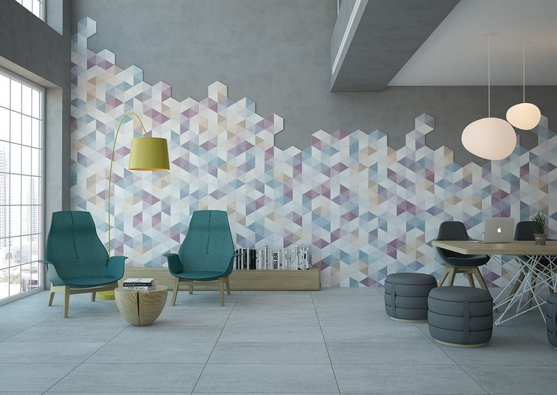 Caleidos by Undefasa - hexagonal wall and floor tiles in porcelain featuring triangles in five matt colours offered in a 23x27cm format. www.undefasa.com