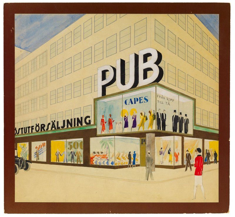 Exterior perspective, extension proposal, watercolour, gouache, pencil and ink on cardboard, ca. 1931, 38 × 41 cm, ARKM.1973-05-02525.