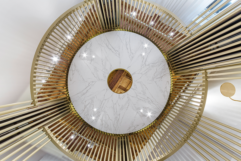 The nerve centre of Neolith Urban Boutique Milan: 'The circular space is dominated by a central rotunda, inviting guests to contemplate an ancient pantheon.'