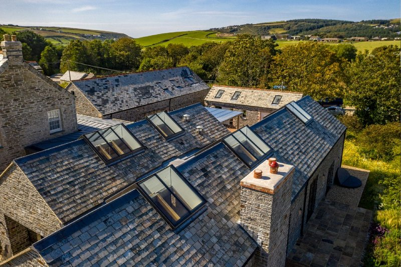 Glazing Vision Ridgeglaze rooflights at Polgreen Manor, north Cornwall. The rooflights are designed to be installed over the apex of pitched roofs allowing glazing on each side.
