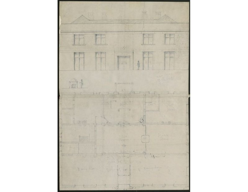Elevation and plan of Robin Hill – Galsworthy seems to have drawn it in order to write about it.