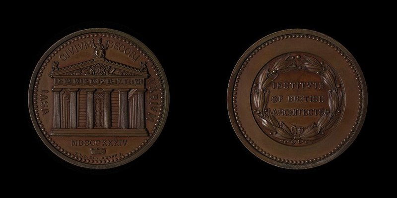 Leverton Donaldson designed the RIBA's Honorary Medal showing the Temple of Theseus and on the obverse a wreath.