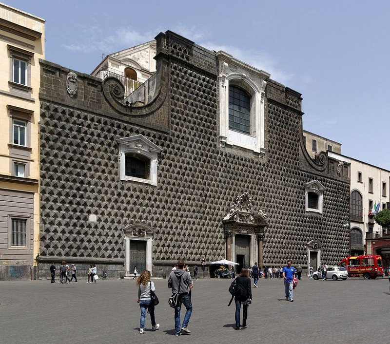 Gesu Nuovo, Naples, Giuseppe Valeriano. Facade by Novello da San Lucano originally for the front of the Palazzo Sanseverino.